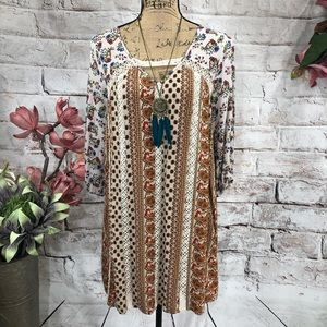 Entro Floral Crochet Sexy Lined Boho Mini Dress